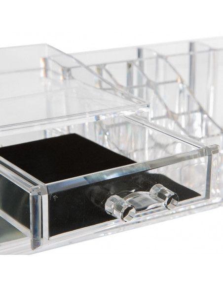 Organiseur make-up 17 compartiments - 30,5 x 15,3 x 9 cm - Polystyrène transparent