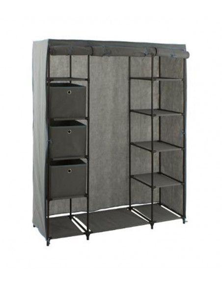 Armoire 1 penderie et 10 étagères + 3 boites - 133 x 44 x 170 cm - Polypropylène et métal