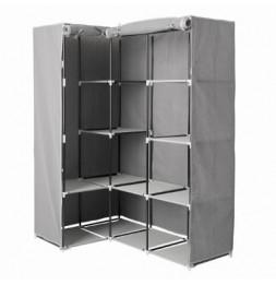 Armoire d'angle 1 penderie et 10 étages - 131 x 87,5 x 169 cm - Polypropylène et métal