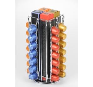 Porte capsules pour 56 capsules Nespresso - 16 x 16 x 27,3 cm - Chrome