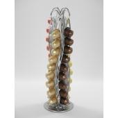 Porte capsules tournant pour 40 capsules Nespresso - 11,2 x 11,2 x 37,5 cm - Chrome