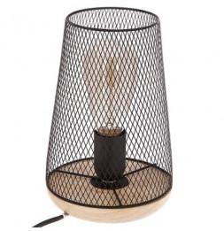 Lampe - 15 x 23 cm - Métal et bois - Noir