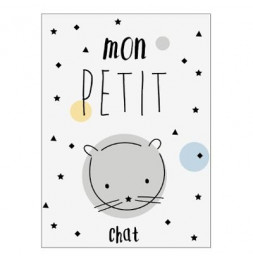 Sticker Kids - Chat - 30 x 40 cm - PVC - Blanc