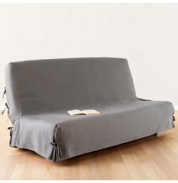 Housse de clic-clac - 140 x 200 cm - 100% coton - Gris clair
