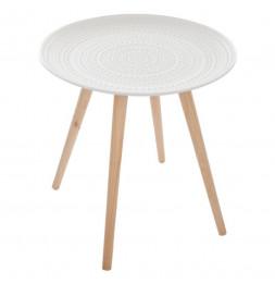 Table basse scandinave Mileo - D 49 cm - Bois - Blanc