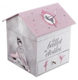 Boîte à bijoux musicale Ballerine - L 14 cm x l 14,5 cm x H 16 cm - Rose