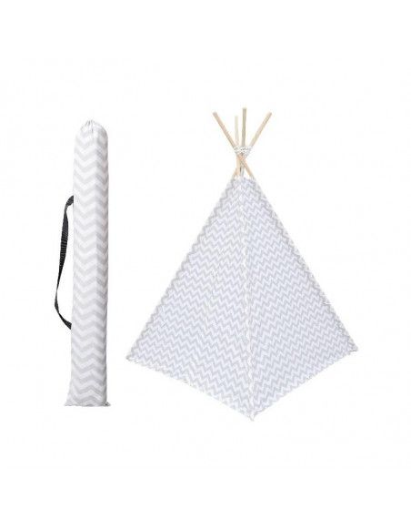 Tipi - 120 x 120 x 160 cm - Bois et polyester - Blanc et gris