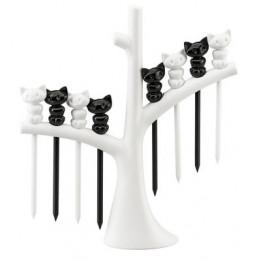 Piques pour amuse-gueules - Miaou - Plastique - Blanc et noir