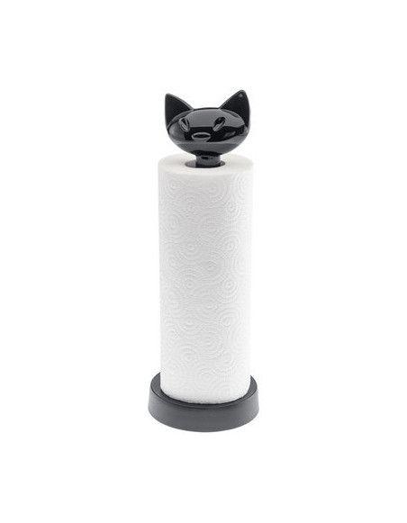Porte-rouleau essuie-tout - Miaou - 12,8 x 36,9 cm - Plastique - Noir