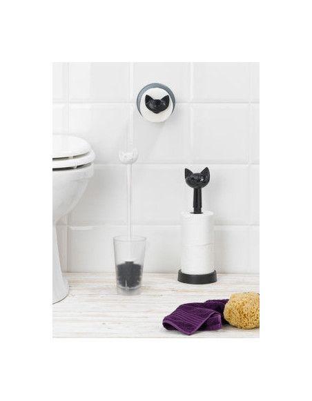 Dérouleur de papier toilette - Miaou - 13 x 15,1 cm - Plastique - Noir