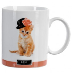Mug chat 35 cl - 8,5 x 10 cm - Porcelaine - Blanc