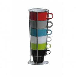 Lot de 6 mugs sur rack - D 8,5 cm