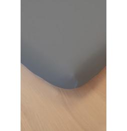 Drap housse - 90 x 200 cm - Coton bio - Gris foncé