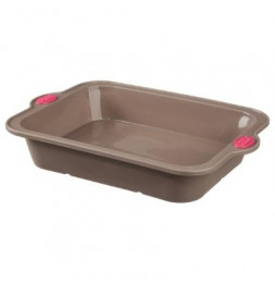 Moule rectangle - 32,5 x 23 x 6,45 cm - Silicone - Marron
