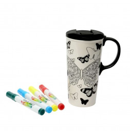 Mug à colorier - Papillons - 475 mL - Céramique