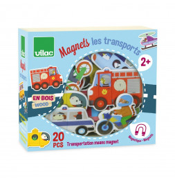 Magnets les transports - 15 x 14 x 6 cm - Bois