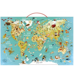 Carte du Monde magnétique - 76 x 50 x 1 cm - Bois