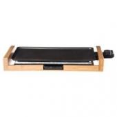 Plancha électrique avec support - 50,5 x 23 x 7 cm - Aluminium et bambou - Noir