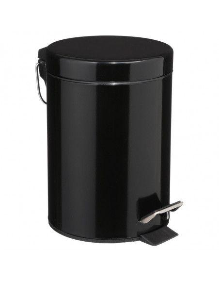 Poubelle 3 L - D 17 cm x H 24 cm - Métal - Noir