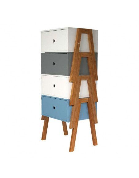 Chevet empilable - 44 x 35 x 45,3 cm - Bois - Gris