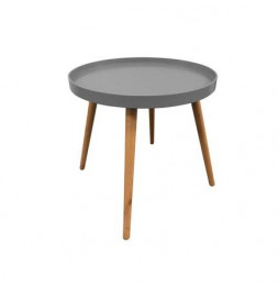 Table plateau ronde - 44,5 x 50 cm - Bois - Gris