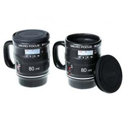 2 tasses à café objectif appareil photo - 80 ml - Céramique - Noir