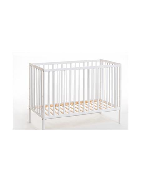 Lit bébé en bois avec matelas- Cypi - L 124 cm x P 65 cm x H 87 cm - Blanc