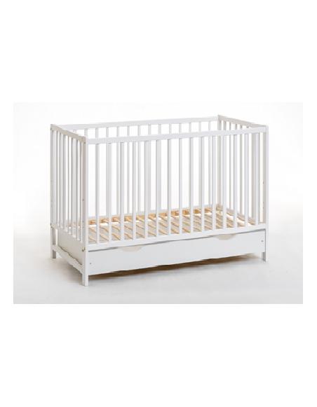 Lit bébé en bois - Cypi plus- L 124 cm x P 65 cm x H 86 cm - Blanc