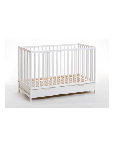 Lit bébé en bois avec matelas - Cypi plus - L 124 cm x P 65 cm x H 87 cm - Blanc