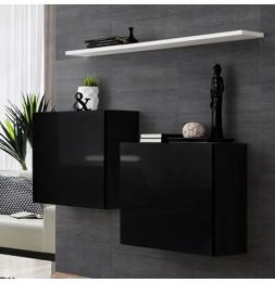 Commode murale avec étagère blanche - Switch SB I -  Noir