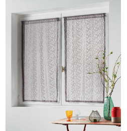 Paire droite passe tringle maille loria - 60 x 120 cm - Polyester - Taupe