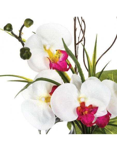 Composition orchidée vase - 36 x 16 x 44 cm - Porcelaine - Blanc