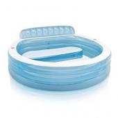 Piscine gonflable avec son banc - L 224 x l 216 x H 76 cm - Vinyle - Bleu