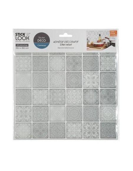 Lot de 2 stickers effet carrelage - L 28,5 x l 26,5 cm - Gris