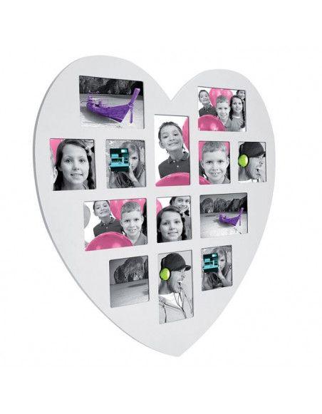 Pêle-mêle 13 photos - Cadre multi photos en forme de coeur - Blanc