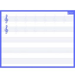 Ardoise rigide effaçable à sec - Solfège - 21 x 26.5 cm - Violet
