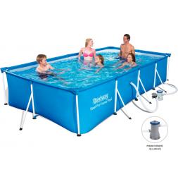 Piscine rectangulaire family splash frame - 400 x 211 x 81 cm - Bleu