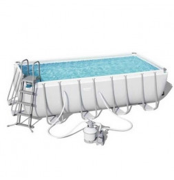 Kit piscine rectangulaire power steel frame - 488 x 244 x 122 cm - Gris