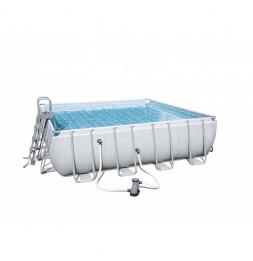 Kit piscine carrée power steel frame - 488 x 488 x 122 cm - Gris