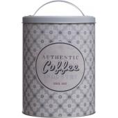 Boîte ronde en métal Coffee - D 13,5 x H 20 cm - Gris clair