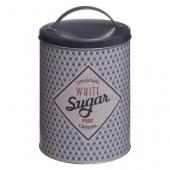 Boîte ronde en métal Sugar - D 13,5 x H 20 cm - Gris