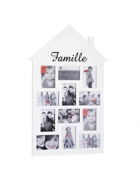 Pêle-mêle 12 photos - Cadre multi photos en forme de maison - Blanc