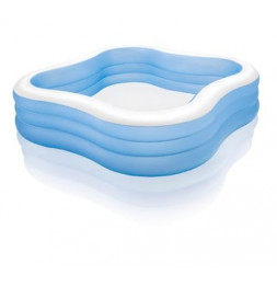 Piscine gonflable carrée - L 229 x l 229 x H 56 cm - Vinyle - Bleu