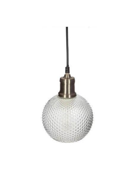 Suspension boule en verre strié - D 15 cm