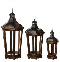 Lot de 3 lanternes octogonales - Marron