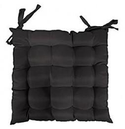 Galette de chaise matelassée - 40 x 40 cm - Noir