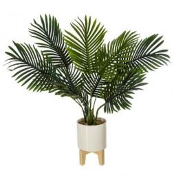 Palmier artificiel avec son pot en céramique surélevé - H 72 cm