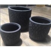 Pots de fleurs - Strate - Lot de 3 - Noir