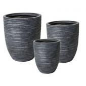Pots de fleurs - Strie - Lot de 3 - Noir