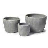 Pots de fleurs ronds - Lot de 3 - Gris